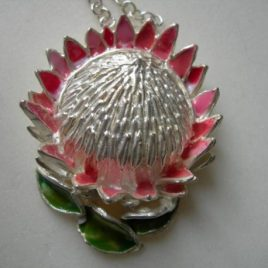 King Protea (large) pendant in plated silver