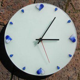Blue hearts clock in vitreous enamel
