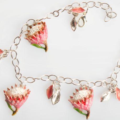Bracelet king protea silver enamel