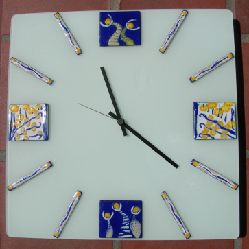 Clock 40 x 40cm in copper with sifted vitreous enamel mounted on sand-blasted glass