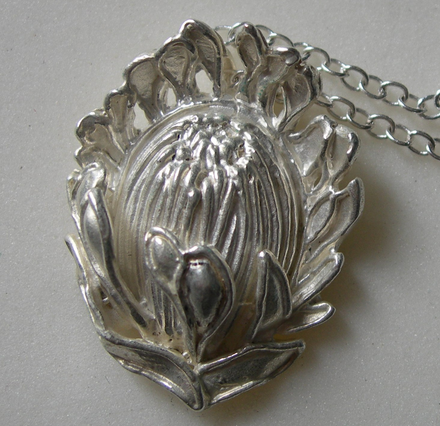 Queen Protea (large) pendant in plated silver