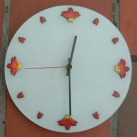 Fire clock in vitreous enamel