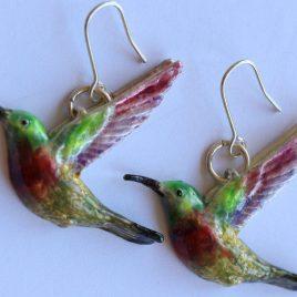 Sunbird earrings in plated silver