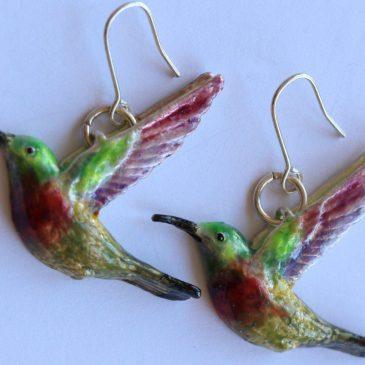 sunbird earrings exquisite enamel & silver jewellery
