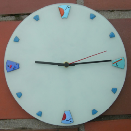 Mirot clock in vitreous enamel