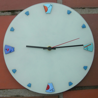 Mirot clock in copper with sifted vitreous enamel mounted on sand-blasted glass