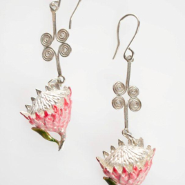 King Protea (small) earrings twisted wire