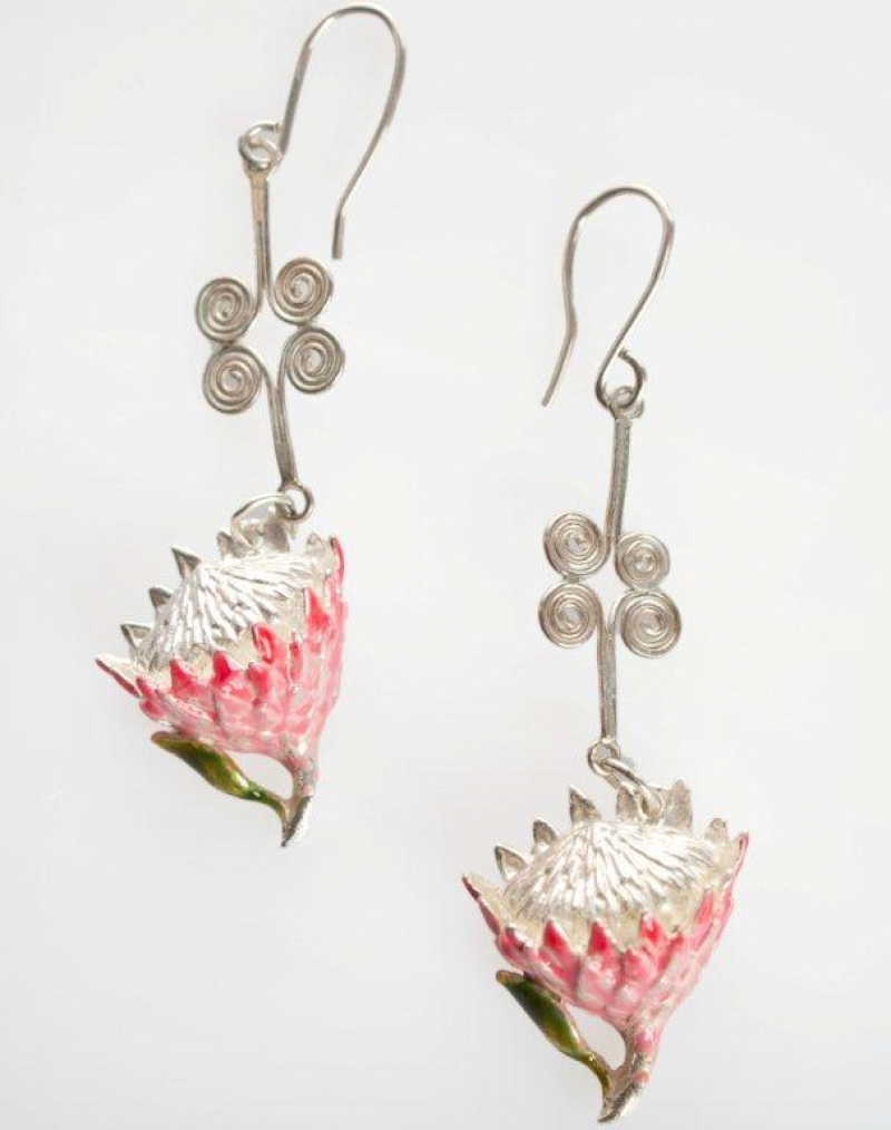 King Protea (small) earrings twisted wire – Sasha Leon Sculpture ...