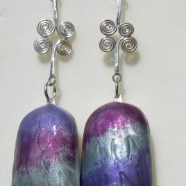 Bell earrings in sterling silver with amethyst