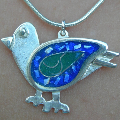 Bluebird of delight pendant in sterling silver with cloisonné vitreous enamel