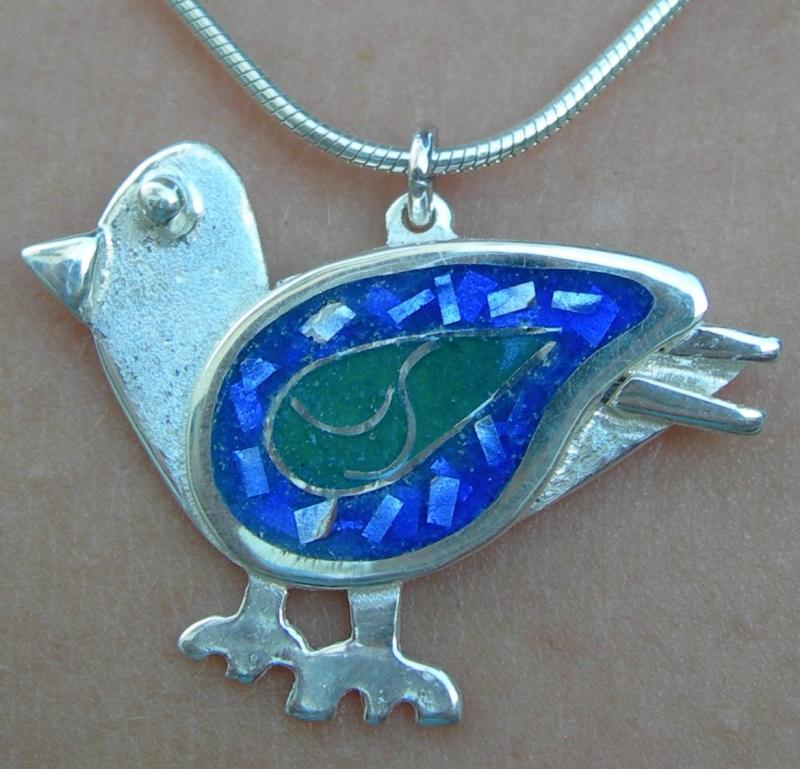 Bluebird of delight pendant in sterling silver