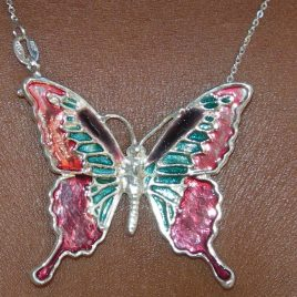Butterfly pendant in plated silver