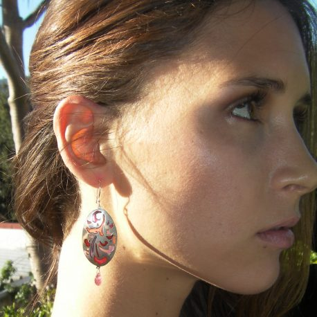 Earrings in 925 Sterling silver plique-a-jour vitreous enamel with pink faceted briolette tourmaline stone – Copy