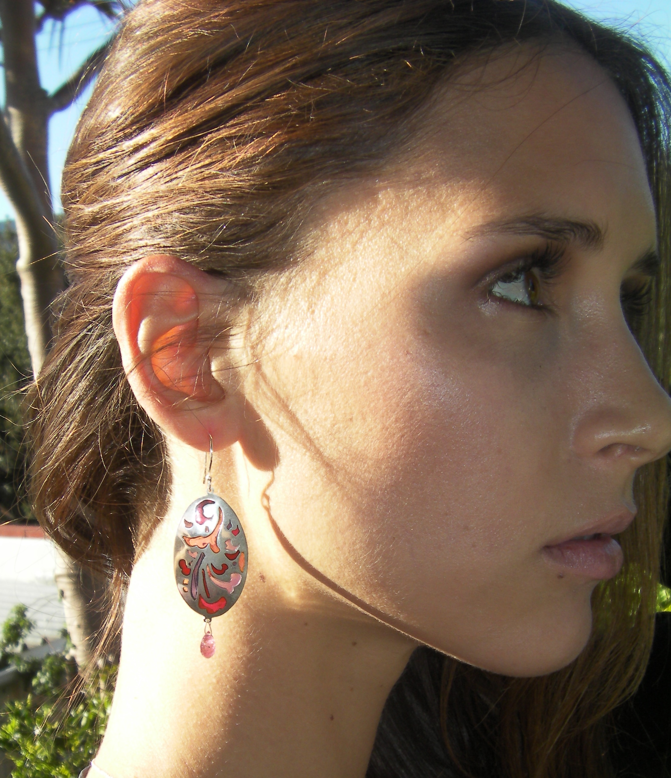 Earrings in sterling silver plique-a-jour with tourmaline