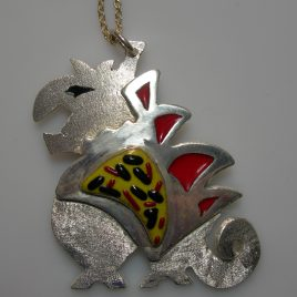 Fierce boy pendant in plated silver