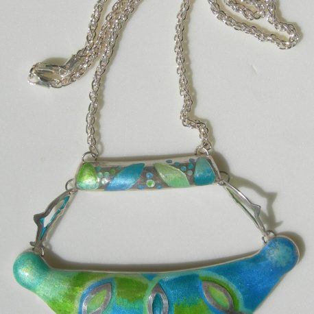 Fish in sterling silver champleve technique with enamelled fish  pliqe a jour