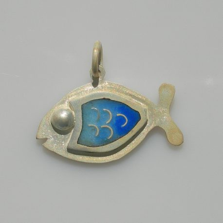Fish of happiness pendant in sterling silver with cloisonné vitreous enamel