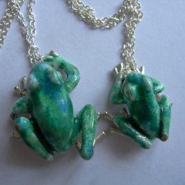 Frog pendant medium in sterling silver