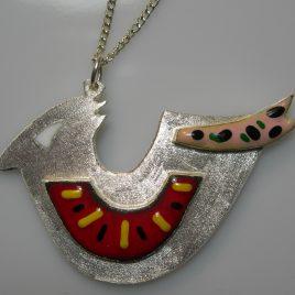 Gentle boy pendant in plated silver