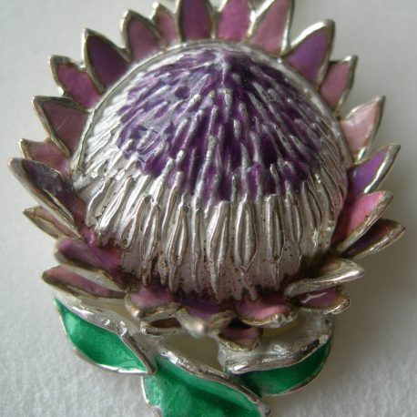 King protea pendant  3.5 by 3cm with purple and pink enamel on sterling silver
