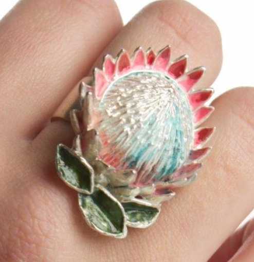 King Protea (large) ring in plated silver