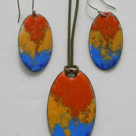 Orange set earrings & pendant in copper and vitreous enamel