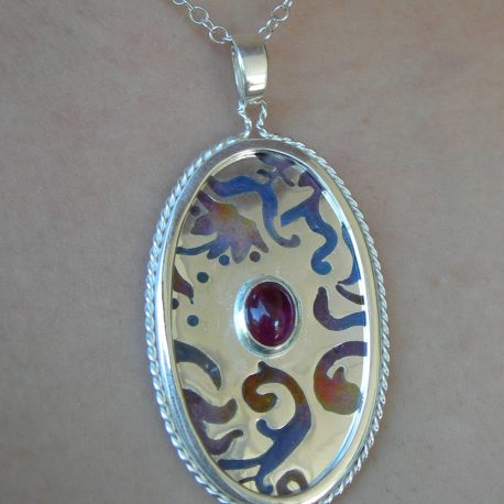 Pendant in Sterling silver 925 champlevé vitreous enamel with cabochon pink tourmaline
