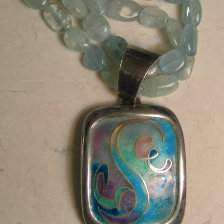 Pendant in sterling silver cloisonné vitreous enamel with aquamarine stone necklace