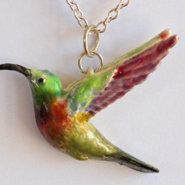 Sunbird pendant in plated silver