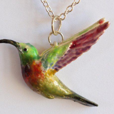 Pendant sub-bird silver enamel