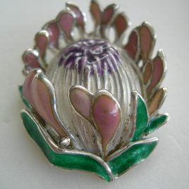 Queen protea pendant in sterling silver & vitreous enamel