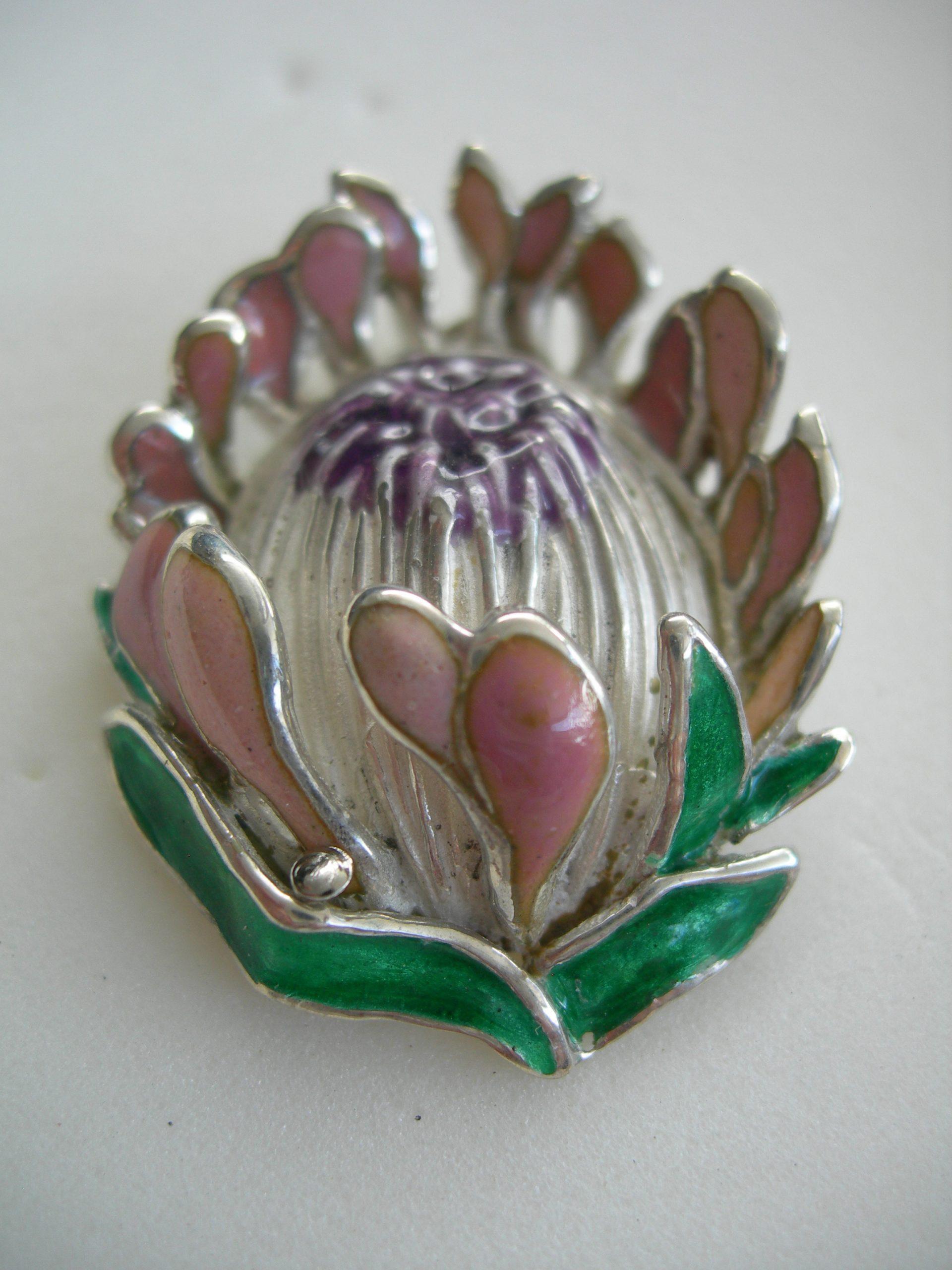 Queen protea pendant in sterling silver & vitreous enamel