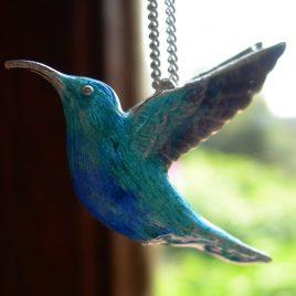 Sunbird pendant in sterling silver & vitreous enamel