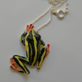 Frog (large) pendant in plated silver