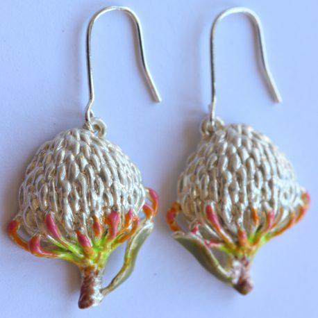earrings pin-cushion silver enamel