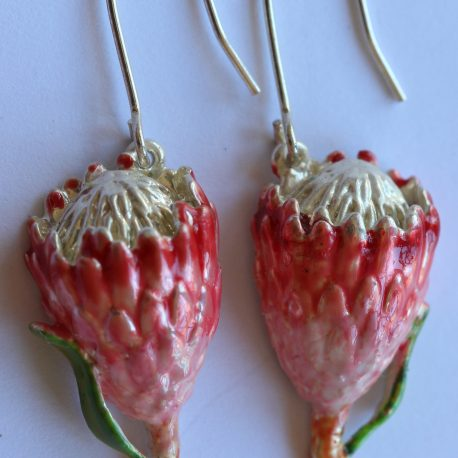 earrings queen protea silver enamel