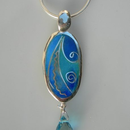 Blue oval pendant with cloisonee vitreous enamel with briolette London topaz with silver snake chain in 925 sterling silver