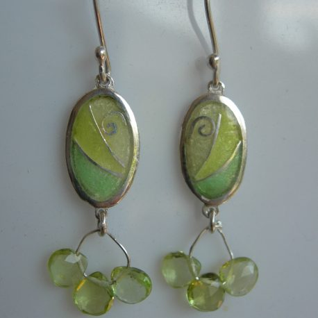 Chartreuse oval earrings with cloisonee vitreous enamel peridot briolette stones and silver snake chain in 925 sterling silver