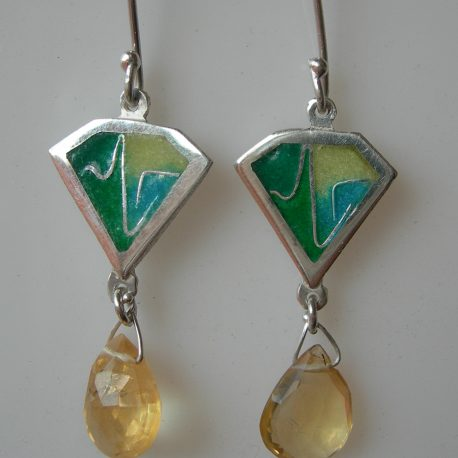 Green kite earrings with cloisonee vitreous enamel citrine briolette stones and silver snake chain in 925 sterling silver