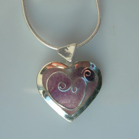 Violet heart pendant with cloisonee vitreous enamel with silver snake chain in 925 sterling silver