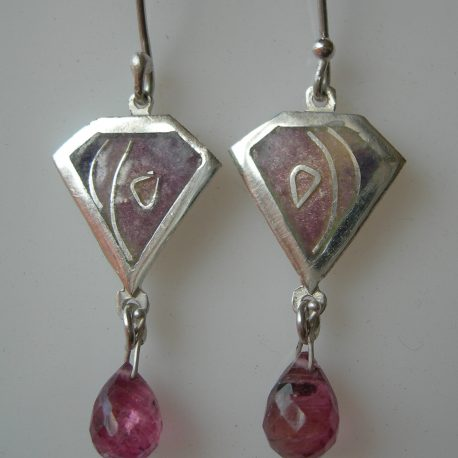 Violet kite earrings with cloisonee vitreous enamel pink tourmaline briolette stones and silver snake chain in 925 sterling silver
