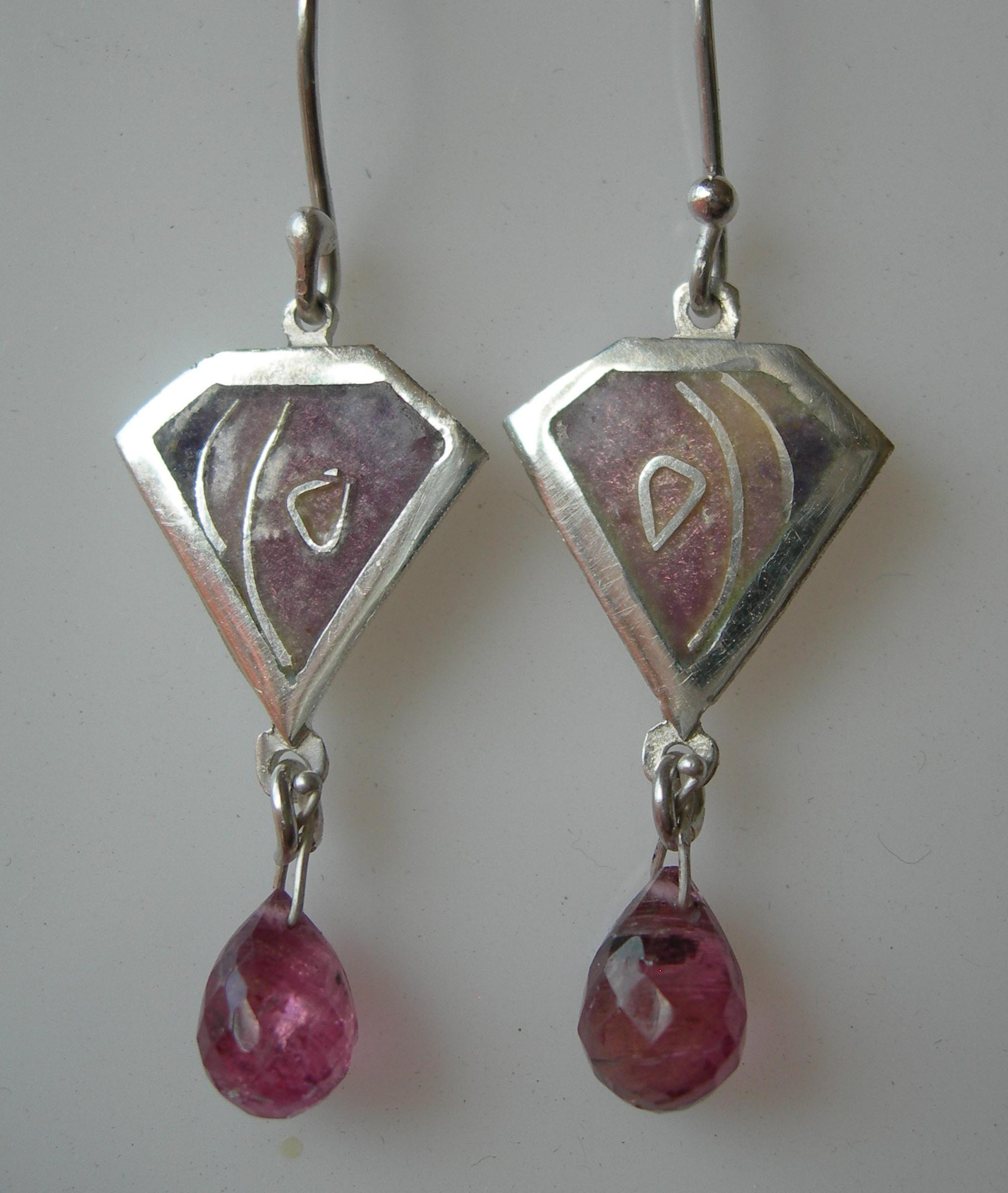 Violet kite earrings in sterling silver