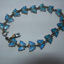 Butterfly bracelet in vitreous enamel and sterling silver