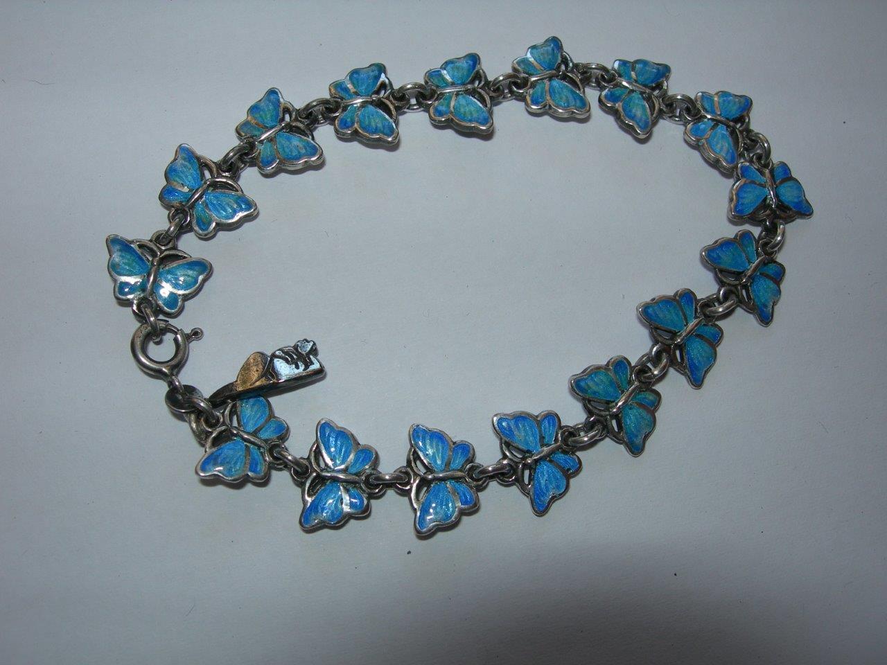 Butterfly bracelet in vitreous enamel and sterling silver