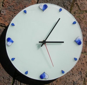 Blue hearts clock